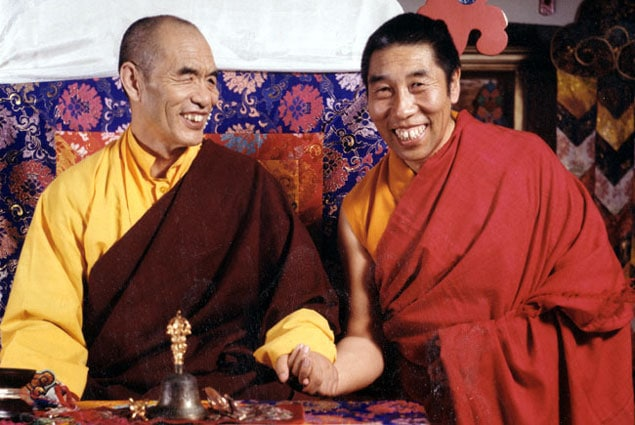 Ven. Khenpo Sonam Tobgyal Rinpoche seated with one of his teachers, Kyabje Nyoshul Khenpo Rinpoche, Jamyang Dorje (1932-1999), a major lineage holder of the Longchen Nyinthig Dzogchen tradition and one of the preeminent contemporary Tibetan Buddhist masters.